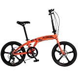 Altruism K1 Folding Bicycles 7 Speed 20inch Aluminum One Round Complete Mountain Bike for Mens Womens Kid's Bicycle