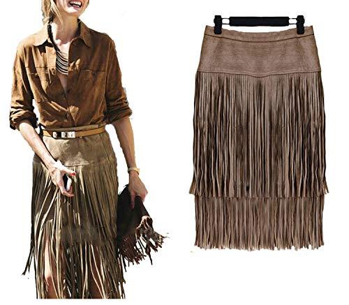 Women's Vintage Skirts Hierarchical High Waist Straight Leather Skirt Fringed Suede Tassel Saias Skirts,Khaki Women Skirts,XL