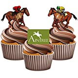 Horse Racing Aintree Mix - Edible Stand-up Cupcake Toppers by AKGifts