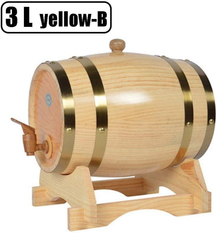 KDJJH ウイスキー樽ディスペンサー、3L ウイスキー樽 オーク 刻まれたバケツ オーク樽 ウイスキー、ビール、ワイン、バーボン、テキーラ、ホットソースなど,natural_22X27cm/9x11inch