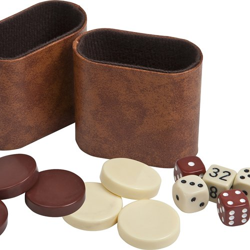 Backgammon Checkers, Dice & Two Dice Cups-Brown/Ivory 1 1/4