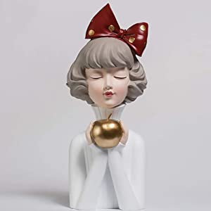 ZAIPP Resin Home Decoration Figurine Ornaments Modern Art Sculpture for Living Room Tabletop Gift,Apple Girl Bust Statue Figures E-White. 14x14x36cm(6x6x14inch)