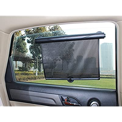AutoMuko Car Window Roller Shade Retractable Car Sunshade for Side Window - Blocks Harmful UV Rays and Offers Effective Sun Glare Protection (2 Pack): Automotive