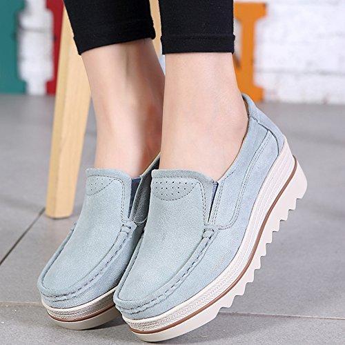 Hattie Women's Casual Platform Loafers Suede Wedge Moccasin Slip On Wide Work Shoes Blue Grey w0mBIm