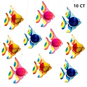 """10pcs 10"""" Tissue Paper Tropical Flying Fish Decorations for Moana Luau Themed Party Birthday Under The sea Party or Room Decor"""
