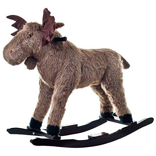 Plush Rocking Max Moose Wooden Rocking Horse Indoor Riding Horse