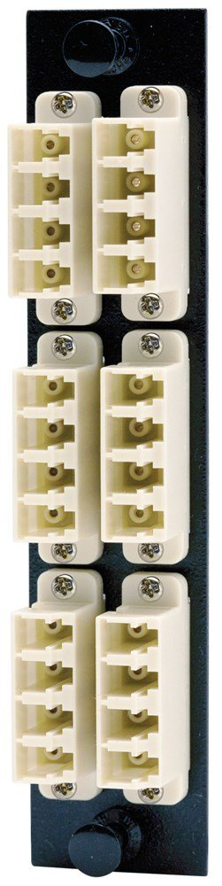 Hubbell HUBFSPLCQM6BE Adapter Panel, 24-Fiber, 6 LC Quad, Phosphor Bronze, Beige