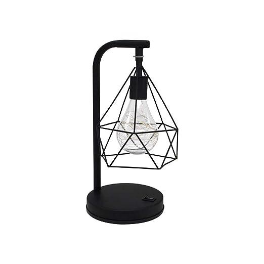 ZZM Lámpara de Mesa de Hierro diamantado, lámpara de Jaula de ...