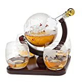 Whiskey decanter globe set with 4 etched globe whisky glasses - for Liquor, Scotch, Bourbon, Vodka and Wine - 850ml