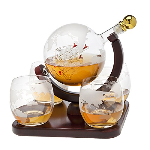 Whiskey decanter globe set with 4 etched globe whisky glasses - for Liquor, Scotch, Bourbon, Vodka and Wine - (Etched Set)