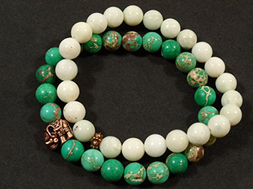 - 2 Bracelet Stacked Set: 8mm Imperial Jasper, 8mm New Jade with Copper Toned Lucky Elephant.