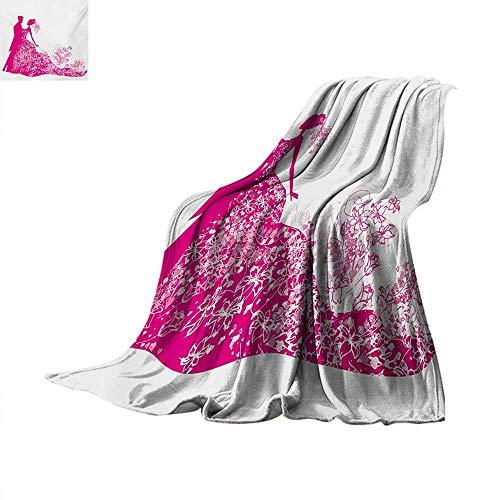 Wedding Super Soft Lightweight Blanket Celebration Dancing Couple Vibrant Color Silhoette Ceremony Floral Wedding Dress Velvet Plush Throw Blanket 80