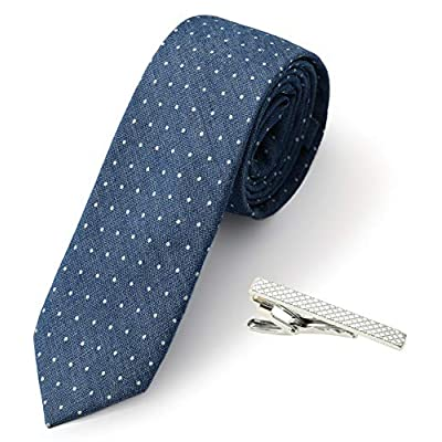Elzama 2.4 inch Chambray Skinny Cotton Blue Ties For Men, Wool Cashmere Feel Royal Navy Blue Tie With 1 Tie Clip Gift Set