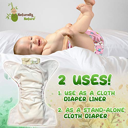 Naturally Nature Prefold Cloth Diapers (6 Pack) Unbleached Premium Cotton Comes with 2 Fasteners Fits Newborn Babies to Toddlers (10-30 lbs)