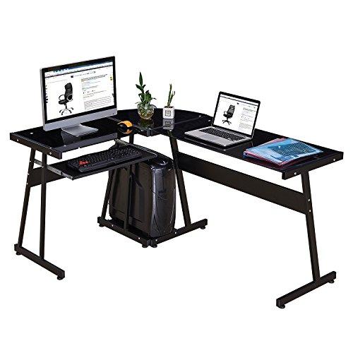 GreenForest Office Desk Corner L Shaped Workstation Laptop Table,Glass Black with Keyboard ()