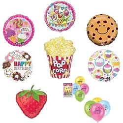 loonballoon Shopkins Cupcake Fresa Donut palomitas de maíz Cookie Lollypop 15Globos de fiesta Set