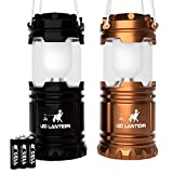 LED Camping Lantern - MalloMe LED Camping Lantern Flashlights - Backpacking & Camping Equipment Lights - Best Gift Ideas (6 AA Batteries Included), Black and Gold