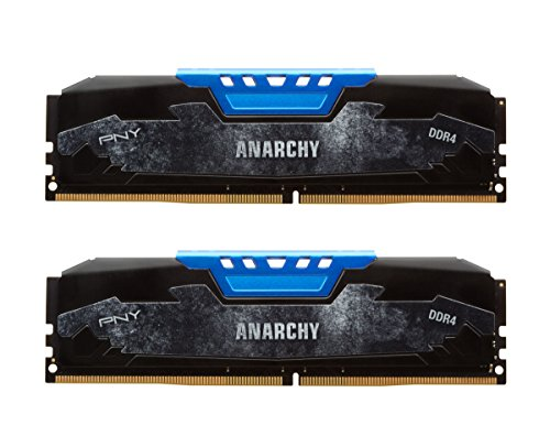 PNY Anarchy 16GB Kit (2x8GB) DDR4 2133MHz (PC4-17000) CL15 Desktop Memory (BLUE) - MD16GK2D4213315AB