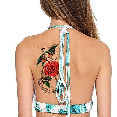 HJLWST 5Pcs/Set Flash Waterproof Flower & Parrot Temporary Tattoo Sticker