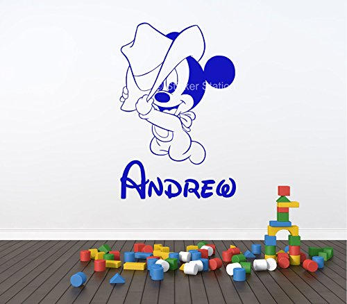 Baby Mickey Mouse Cowboy Kids Personalised Any Name Wall Art Mural Decal Sticker]()