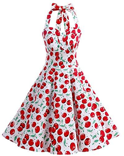 Bbonlinedress Vintage Rockabilly Años 50 Halter Vestidos de Cóctel Floral Retro White Big Cherry