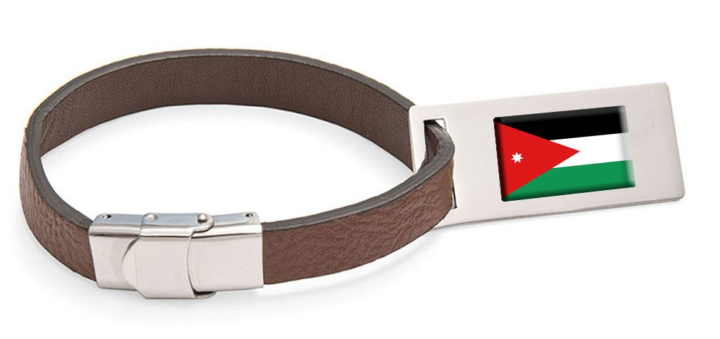 Jordan Flag Leather Luggage Tag Steel Engraved Text