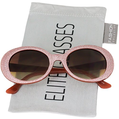 Clout Goggles Oval Mod Retro Thick Frame Rapper Hypebeast Eyewear Supreme Glasses Cool Sunglasses (Pink Glitter/Brown, -