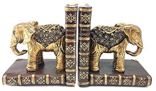 Bellaa 20898 Elephant Bookends Statues Golden 6
