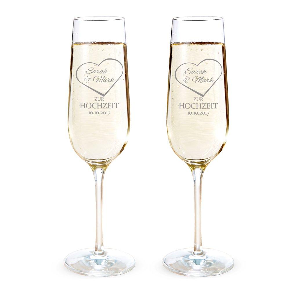 AMAVEL 2er Set Sektglas mit Gravur zur Hochzeit – Namen im Herz ...