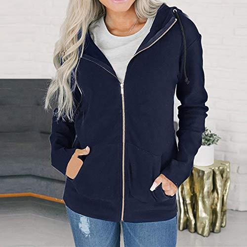NEEDRA Ladies Overcoat Up Hoodie Navy Women Coat Zipper Sweatshirt Outwear Hooded Zip Jacket Jacket USSxFa
