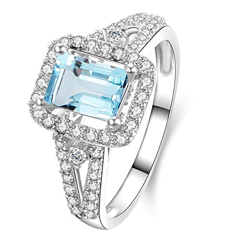 EoCot Custom Size Silver Plated Ring for Women Rectangular Blue Topaz Rectangle Wedding Band Engagement Bridal Rings Size 5