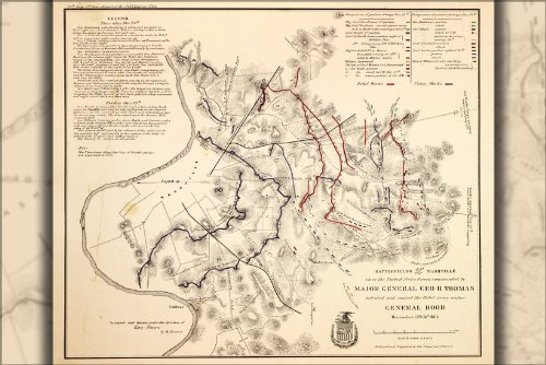 Poster Map Of Battle Fields Nashville, Tennessee 1864