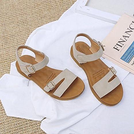 WHL Shoes Komfortable Sandalen Damen Sandalen Weichen Flachen Unterseite Klett Summer Lounge Terrasse Braun 36 42kjv