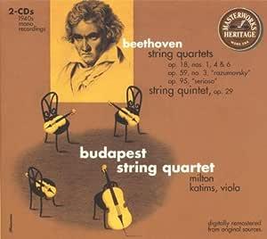Beethoven: String Quartets Op. 18 Nos. 1, 4, & 6, Op. 59 Nos. 3 Razmovsky, Op. 95 Serioso; String Quintet Op. 29 by Beethoven
