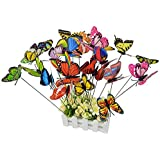 24 pcs Butterfly Garden Ornaments,Ishua Butterfly Stakes Outdoor Patio Decoration Butterfly Party Supplies Butterfly Decorations for Outdoor Garden,Flower Beds,Garden, Lawn,Plant Pots,Butterfly Crafts