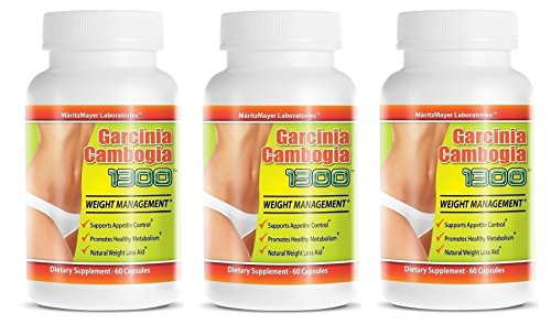 Garcinia Cambogia Extract 1300 60% HCA Weight Management Appetite Suppressant 60 Capsules Per Bottle (3 Bottles)