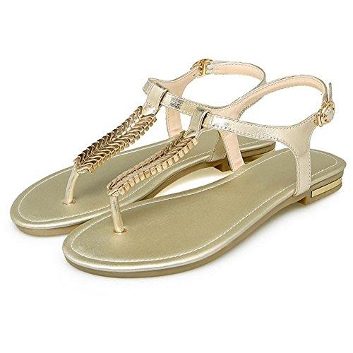 Flops COOLCEPT Flops Schuhe Metal Flach Knochelriemchen mit Mode Flip Damen Event Gold SwrOqa0xSB