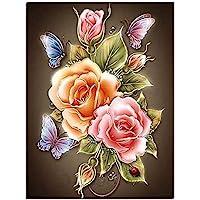 iDream Home Decoration 5D Diamond Painting Rhinestone Rose Flower DIY Mosaic Wall Decor (30cm x 30cm)