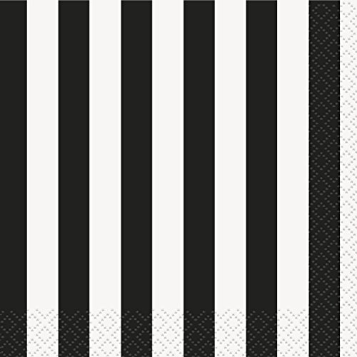 Striped Cocktail Napkin - Black Striped Beverage Napkins, 16ct