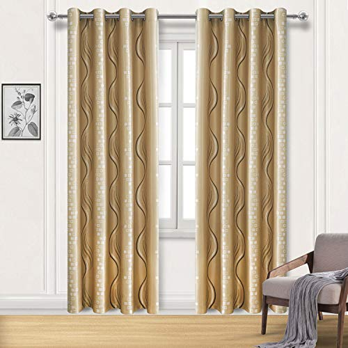 (DWCN Beige Jacquard Blackout Curtains - Faux Silk Room Darkening Thermal Insulated Bedroom and Living Room Curtains, 52 x 84 Inches Length, Set of 2 Window Curtain)
