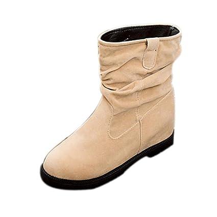 XINANTIME - Botines de cuña para mujer Botines planos Zapatos de plataforma de tobillo (Beige