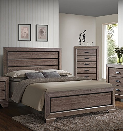 Acme Furniture 26020Q Lyndon Bed, Queen, Weathered Gray Grai
