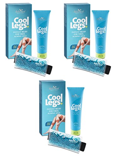Belle Azul Cool Legs! Instant Pain Relief for Tired, Heavy, Cramped, Aching Legs and Feet with Horse Chestnut, Peppermint and Arnica Extracts- Cold Pack Included. 100ml/0.34 fl oz (Pack of - Peppermint Gel Cooling Leg