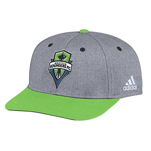 adidas MLS Seattle Sounders FC Adult Men 2-Tone Structured Adjustable, One Size, Gray