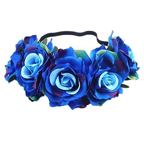 Bohemia Handmade Floral Headband Big Rose Flower Hair Head Accessories Women Girls Bridesmaid Wreath Party Hair Ornaments Floral,20]()