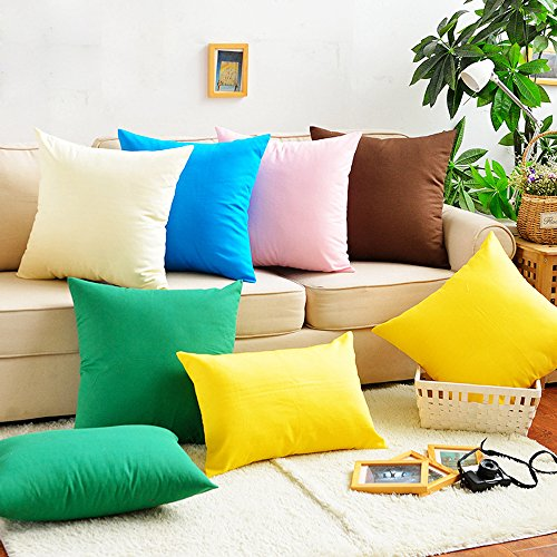 Huacel cotton canvas solid color simple sofa pillow for Sofa cushion covers dubai
