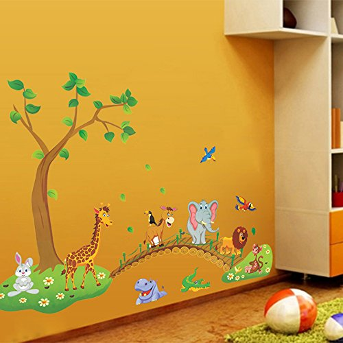 Haute Baby Jungle - Ieasycan Owl Cartoon Wall DecalElephant Giraffe Crossing Pattern Wall Stickers For Children's Room Bedroom Baby Room Sofa Living Room TV Background Sti