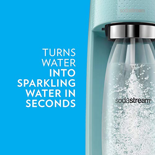 SodaStream Fizzi Sparkling Water Maker Bundle, Icy Blue, with extra CO2, Bottles and Fruit Drops