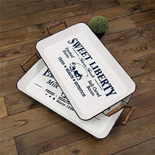 - Glitzhome Decorative Tray 21.26 Inch Farmhouse Enameled Serving Tray Rectangular Metal Coffee Table Tray White Ottoman Tray with Handles, Set of 2
