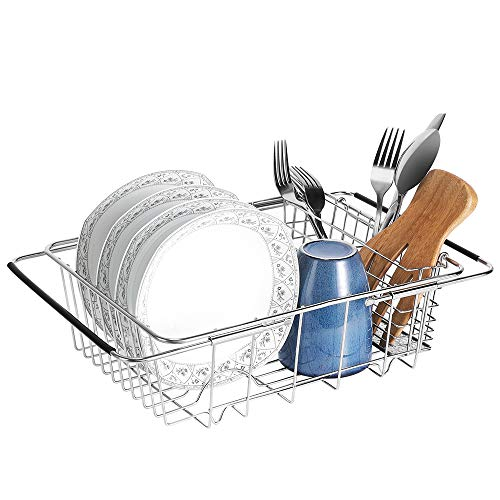 E-Gtong Expandable Dish Drying Rack, 304 Stainless Steel Dish Rack with Utensil Holder and Adjustable Arms, Storage Basket Over the Sink, In Sink or On Counter Dish Drainer Utensil Organizer Rustproof